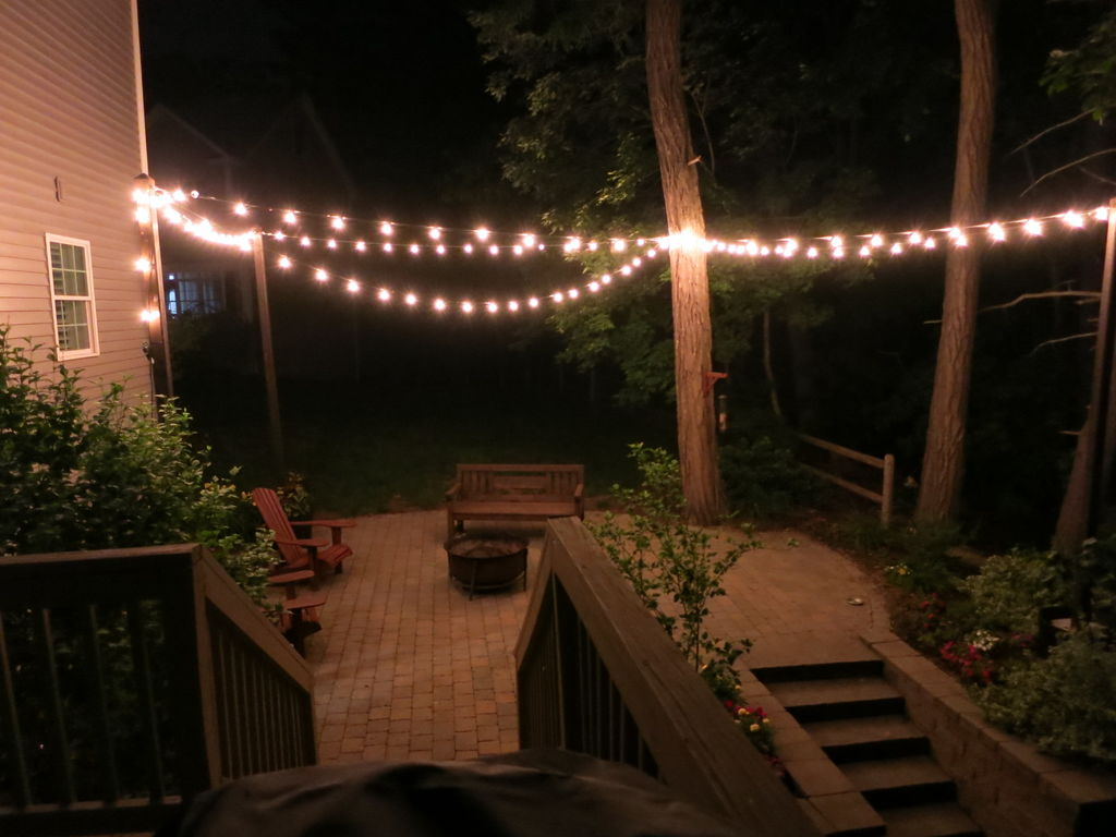 ... picture of patio lighting with planters IMBZBXJ