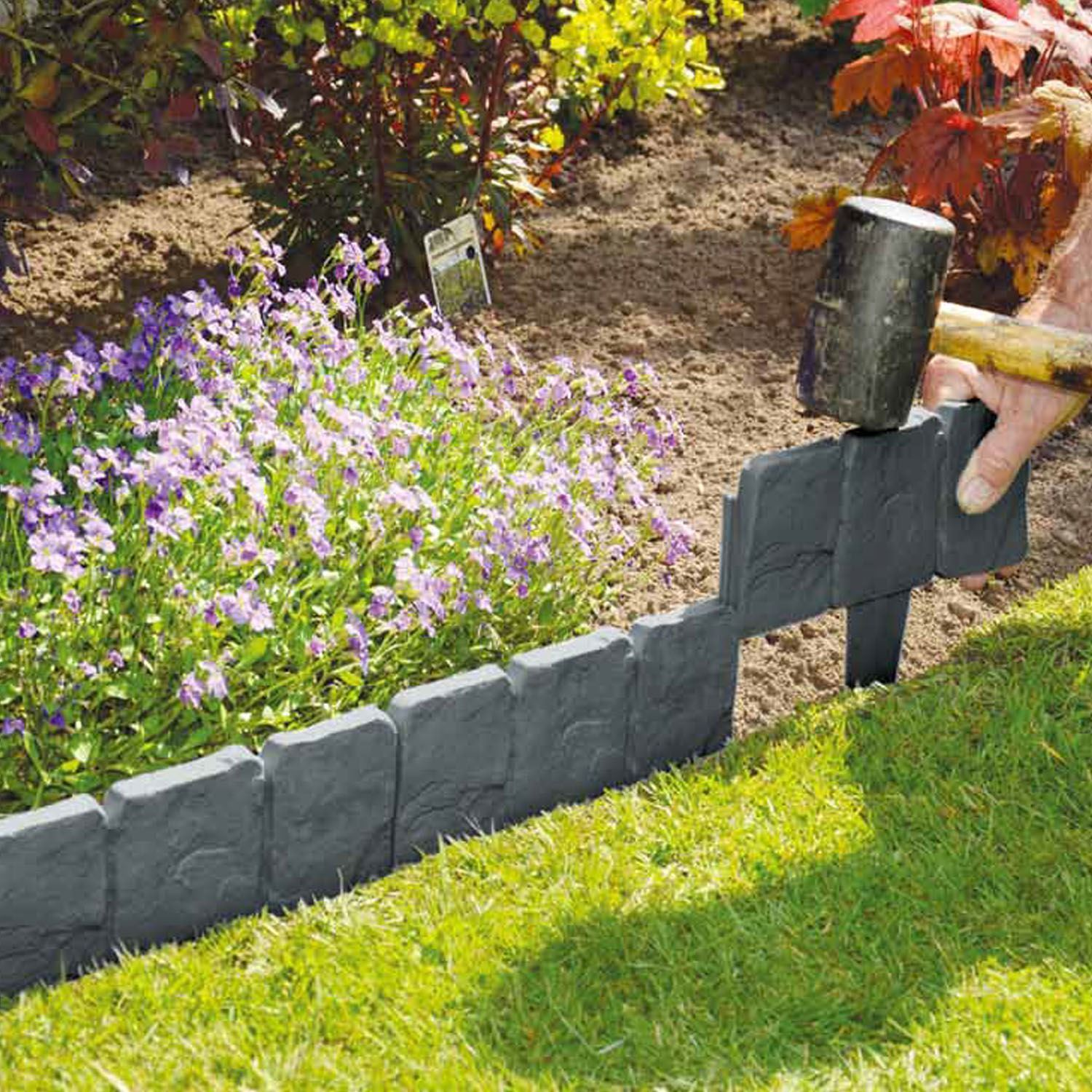 10 pack lawn edging cobbled stone effect plastic garden edging hammer in KISNYXR