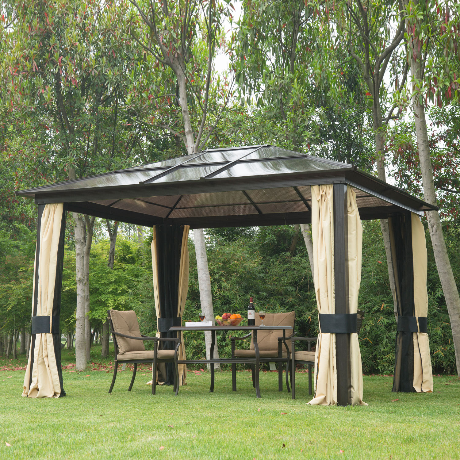 12u0027x10u0027 outdoor patio canopy party gazebo shelter hardtop w/ mesh and KMTVWAO