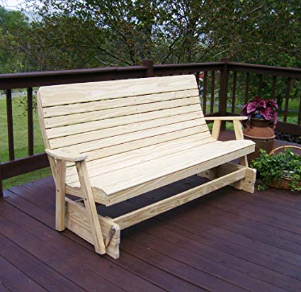 4u0027 porch glider outdoor patio bench, 2 person wooden loveseat patio benches SHXKKXV