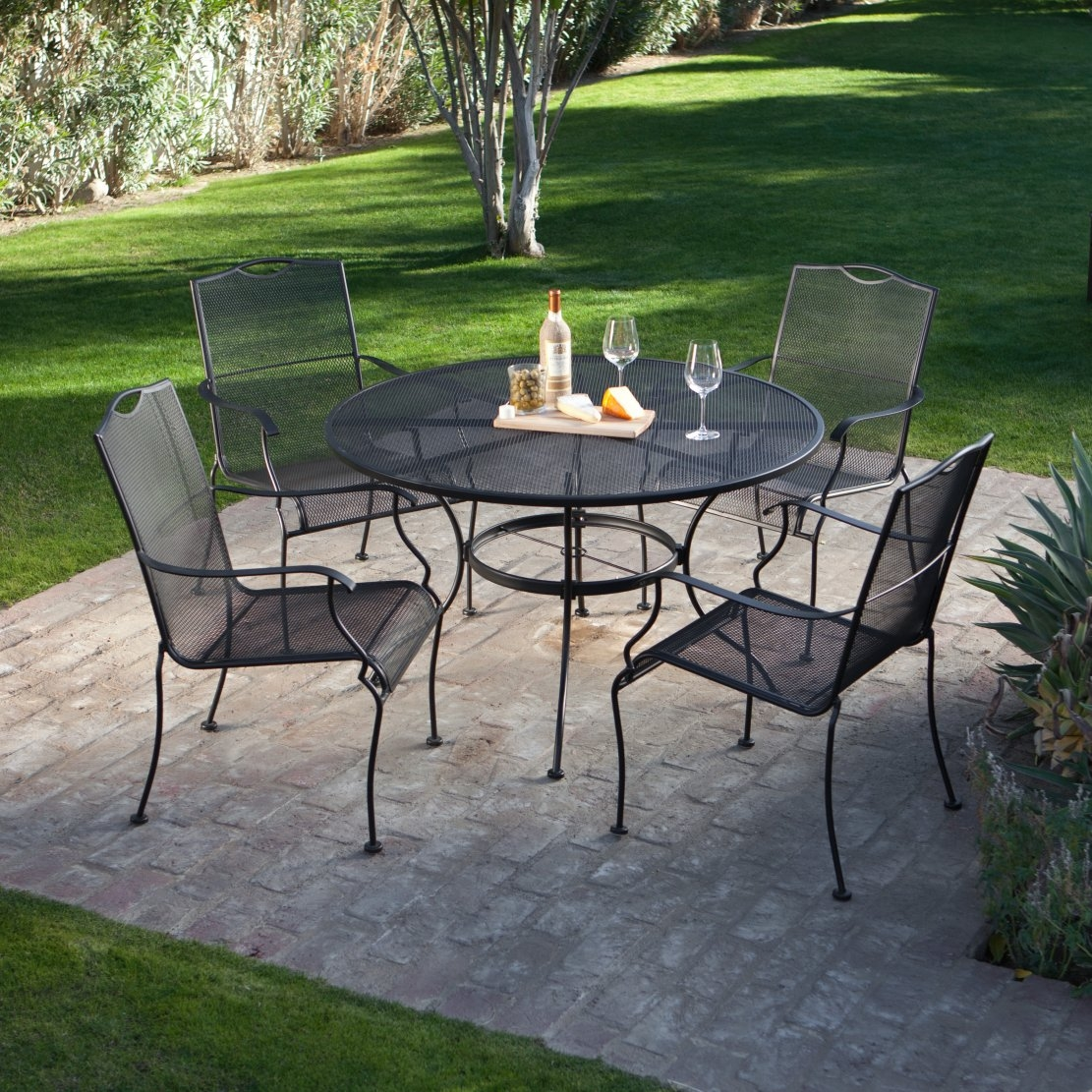 5-piece wrought iron patio furniture dining set - seats 4 KXJGASN