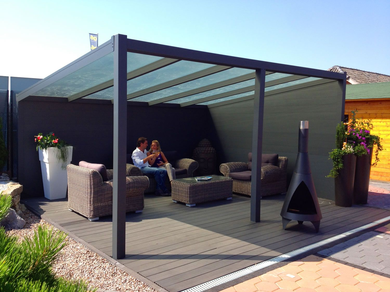 a glass prepared aluminium garden canopy / veranda with a depth of BIOWVGR