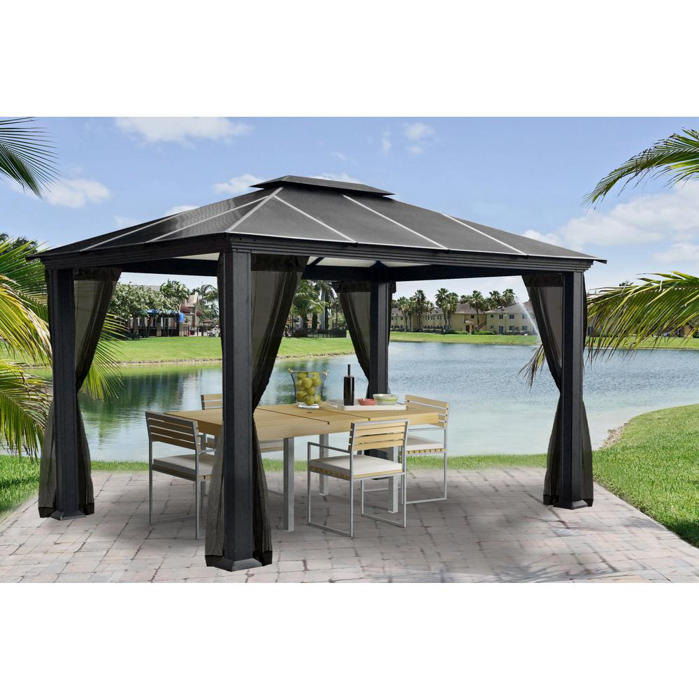 aluminum hard top gazebo with mosquito netting ZZVOQBI