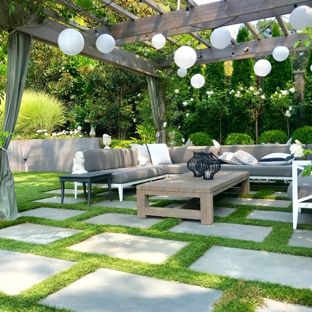 backyard design ideas transitional backyard patio photo in san francisco with a pergola JQZBSXU