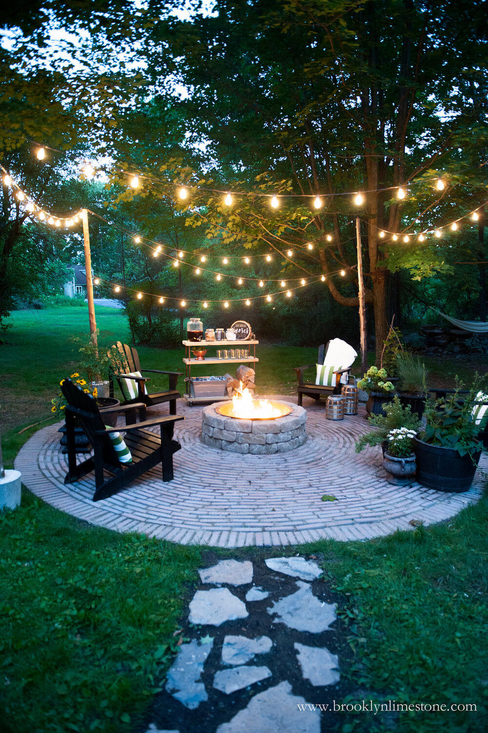 backyard lights cozy outdoor fire pit and string lights YTACYXT