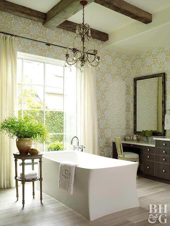 bathroom window treatments bathroom window treatment ideas. bookmark; more. bath with wallpaper and  rustic CVQPSYK