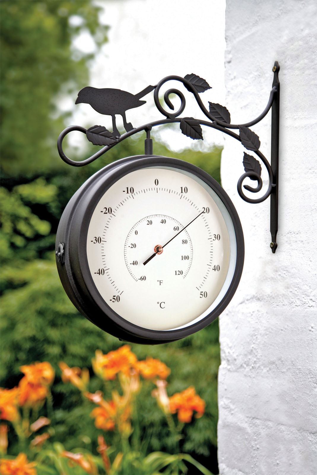 birds of britain swivel garden clock thermometer 4372 GJVKRWT