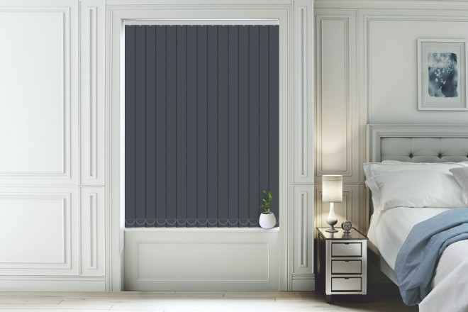 blackout vertical blinds hannah slate - moisture resistant blackout vertical blind YHLQAXJ