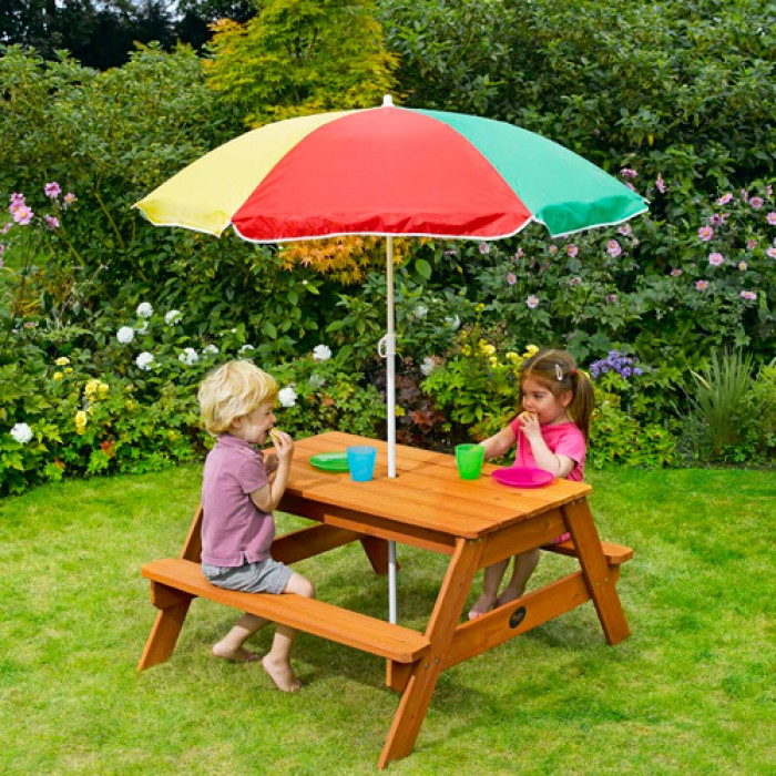childrens garden furniture plum childrenu0027s garden picnic table with parasol PJEMHVG
