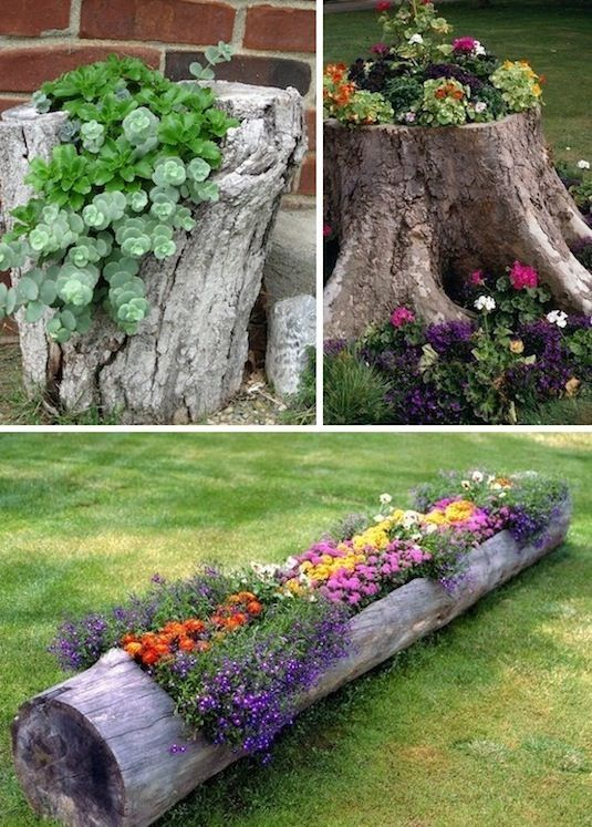 creative garden ideas 24 creative garden container ideas | use tree stumps and logs as XECAUEJ