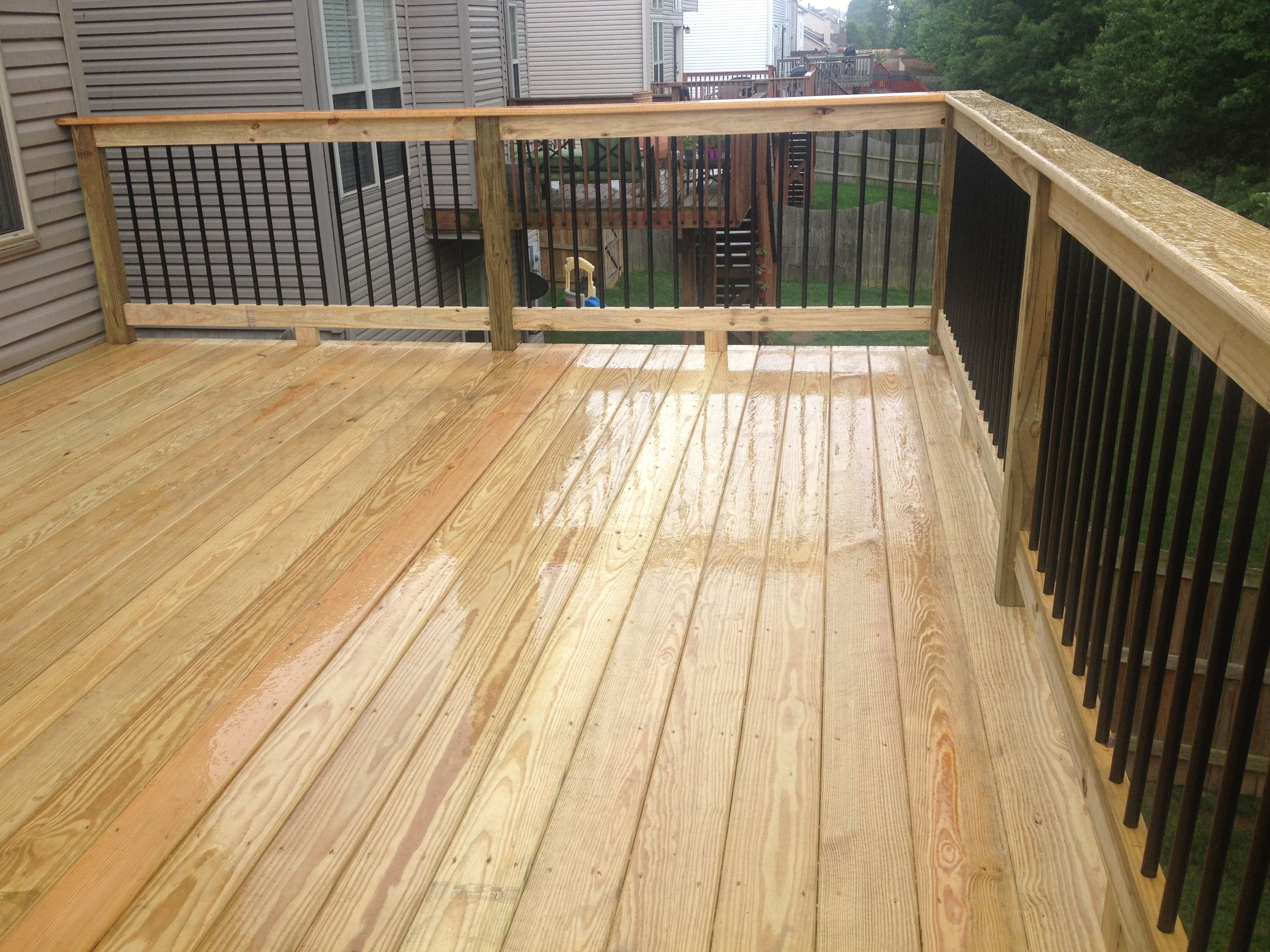 deck spindles black metal aluminum spindles on 12x16 deck with premium wood decking MAMAFSD