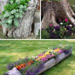 diy garden ideas tree stump garden planters TUMRAJD
