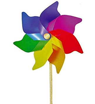 extra large multi-coloured rainbow garden windmill 110cm by