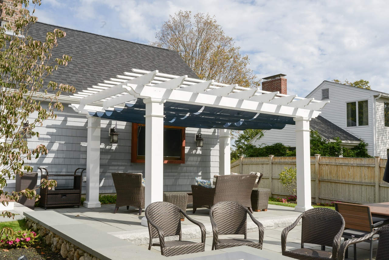 fiberglass pergola kit + retractable canopy ILAAQJI