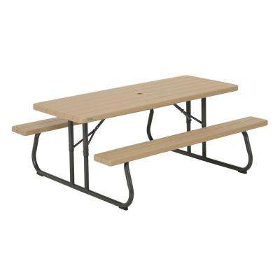 folding patio table heather beige folding picnic table OWWDRWJ
