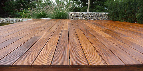 freshly stained bamboo decking QSASXSR