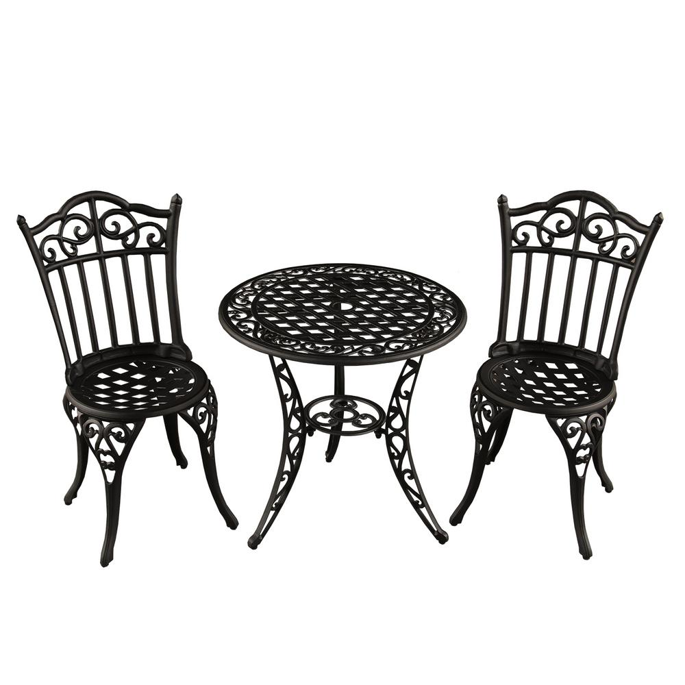 garden bistro sets ornate traditional 3-piece aluminum outdoor patio garden bistro set in sand SNLYVDW