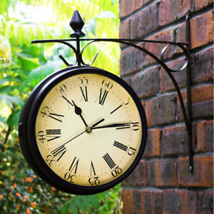 garden clock outdoor garden paddington station wall clock 20cm double sided outside  bracket NHGTMMR