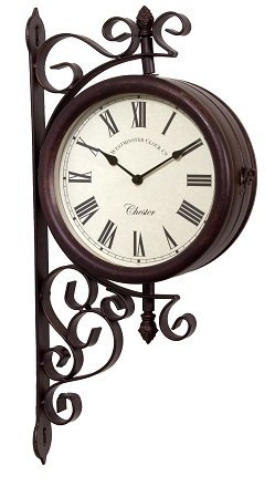 garden clock outdoor garden wall station clock u0026 temperature with bracket, swivels 21cm WDKQTQR