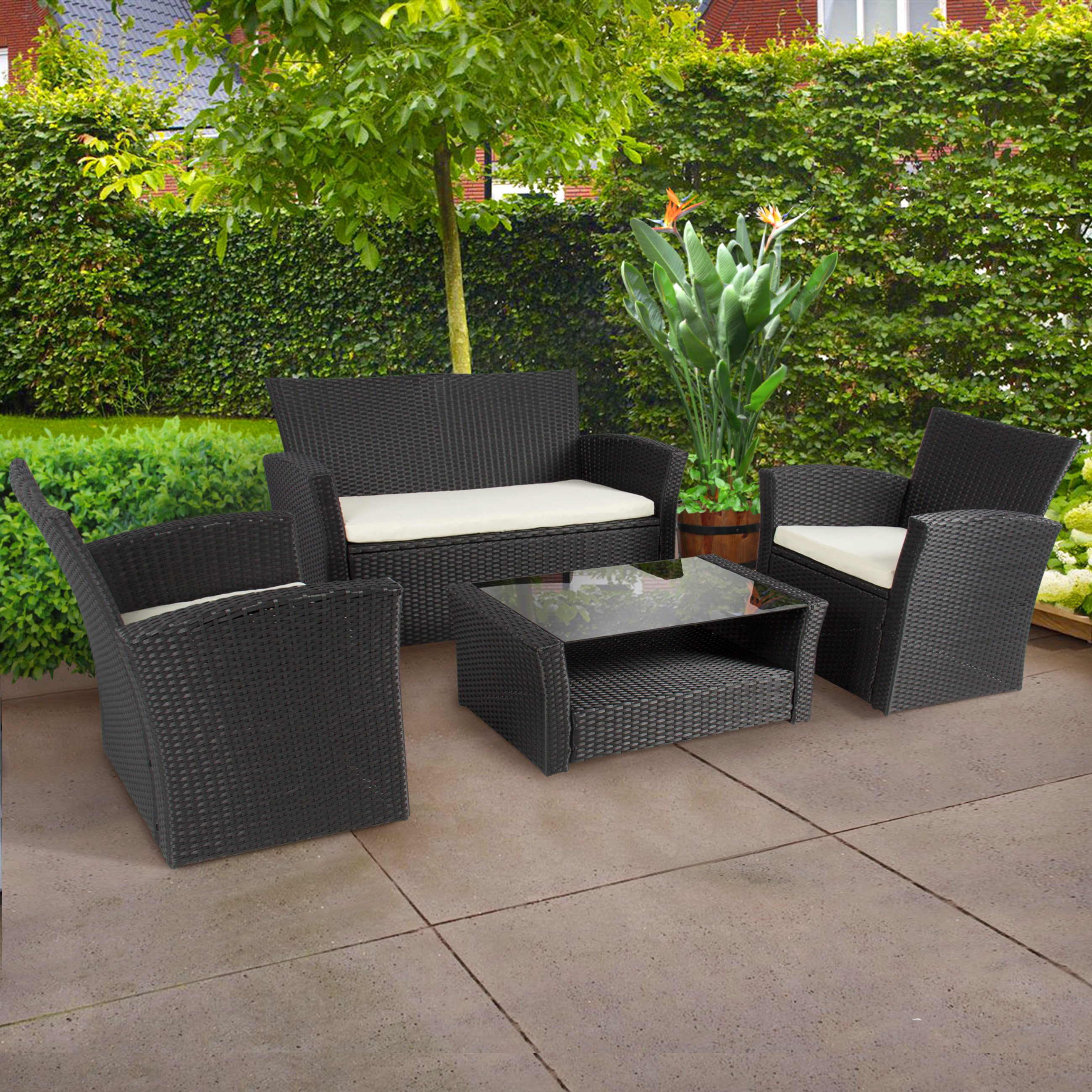 garden sets 4pc outdoor patio garden furniture wicker rattan sofa set black - HLSMRBN