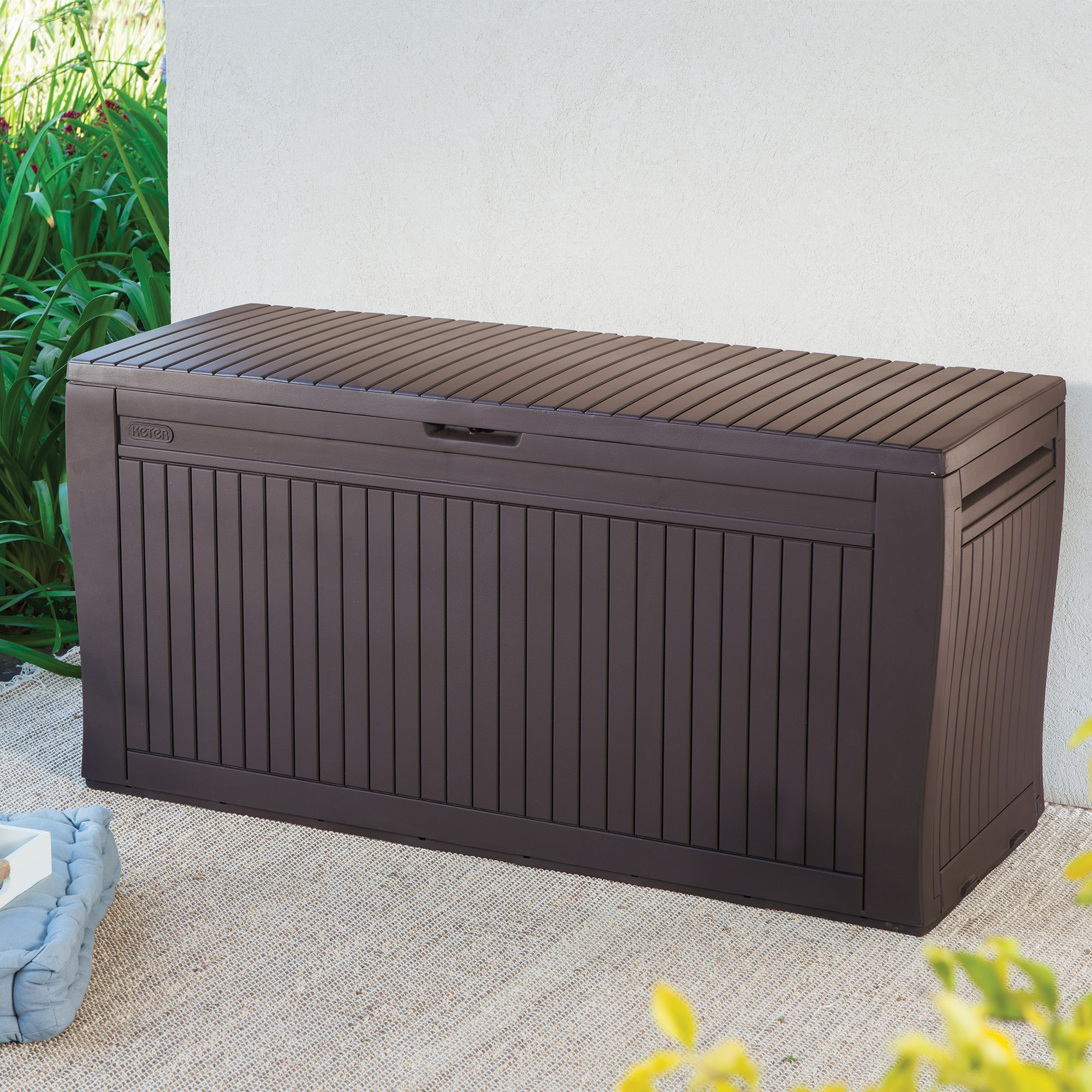garden storage boxes comfy wood effect plastic garden storage box | departments | diy at YPENEXX