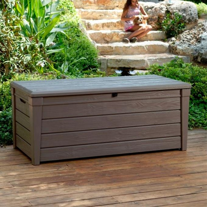 garden storage boxes keter brightwood plastic garden storage box with seat - 455 litre capacity PCYPAFO