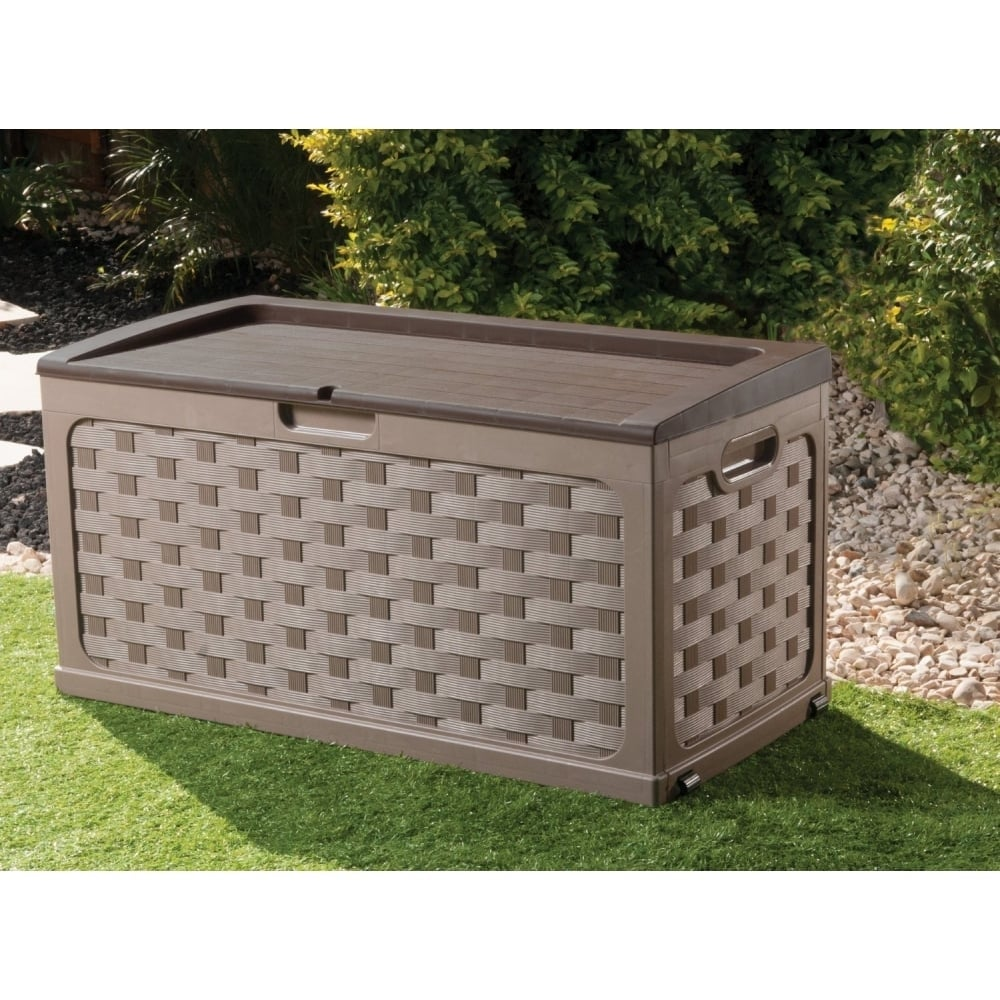 garden storage boxes rattan style garden storage box with sit on lid KKHVNCZ