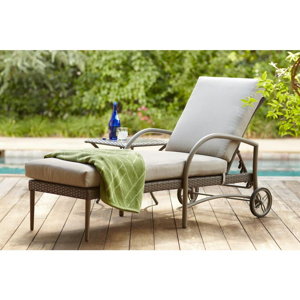 hampton bay posada patio chaise lounge with gray