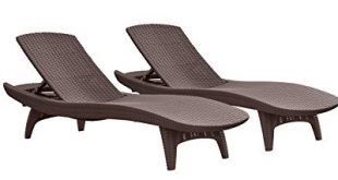 keter pacific 2-pack all-weather adjustable outdoor patio chaise lounge  furniture, brown RRNNHHF