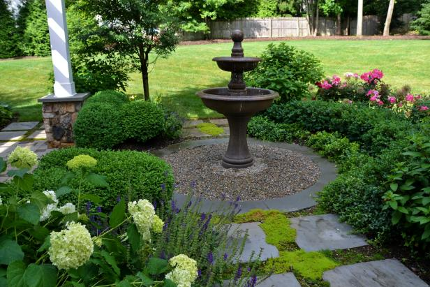 landscape design ideas garden fountain feature WXZERJW