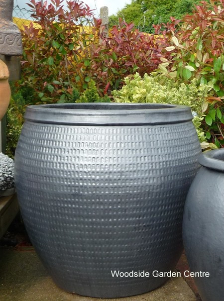 large garden pots extra glazed pot gun metal collar planter woodside QXPUYWB