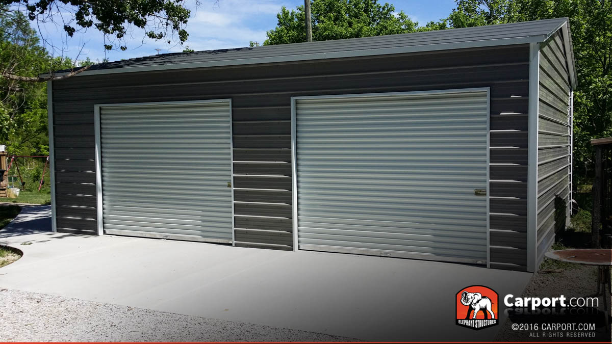 metal garage kits 21x24 custom two car garage with grey roof and white trim BUDKECC