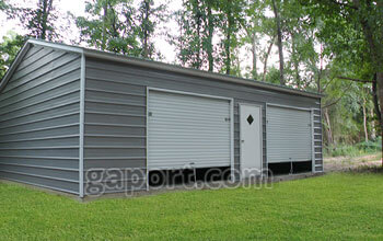 metal garage kits dark grey metal garage with door roll-up doors and an entry door LFACQOW