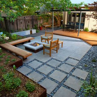 modern landscape design inspiration for a small modern shade courtyard outdoor sport court in GHZBWDR