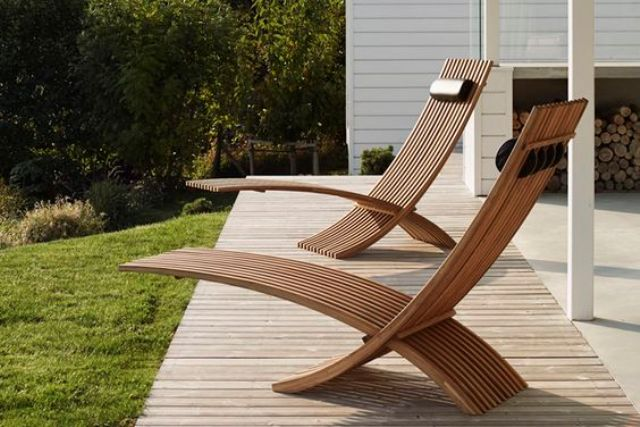 modern patio furniture modern outdoor furniture chic sculptural teak loungers for a modern outdoor CSKLPAV