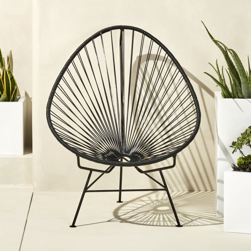 outdoor chair outdoor black acapulco chair + reviews | cb2 LURWKYF