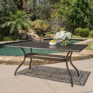 outdoor dining table hallandale outdoor aluminum rectangle bronze dining table by christopher  knight home DFIOJJT