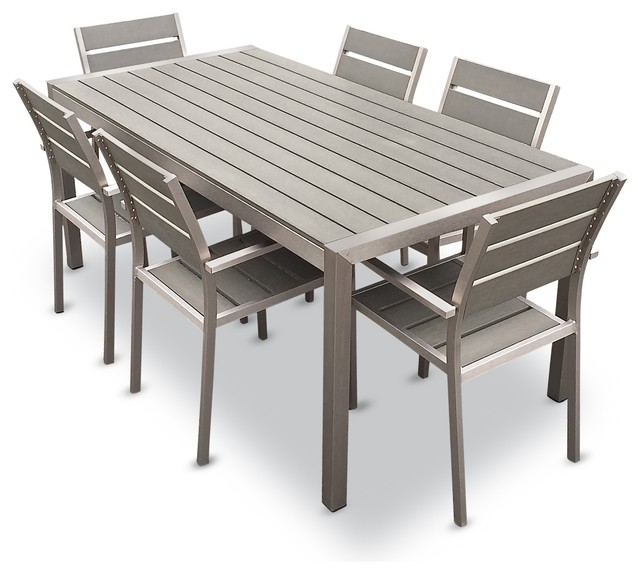 outdoor dining table outdoor aluminum resin 7-piece dining table and chairs set KUEVURG
