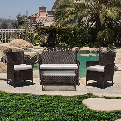 outdoor garden furniture belleze 4pc patio rattan wicker chair sofa table set outdoor garden QODLJLB
