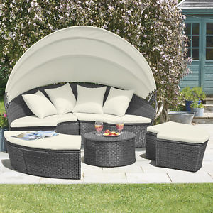 outdoor garden furniture image is loading rattan-daybed-amp-table-garden-furniture-outdoor-patio- BPXZCMX
