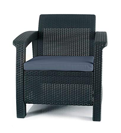 outdoor garden furniture keter corfu armchair all weather outdoor patio garden furniture with  cushions, EYWBEBM