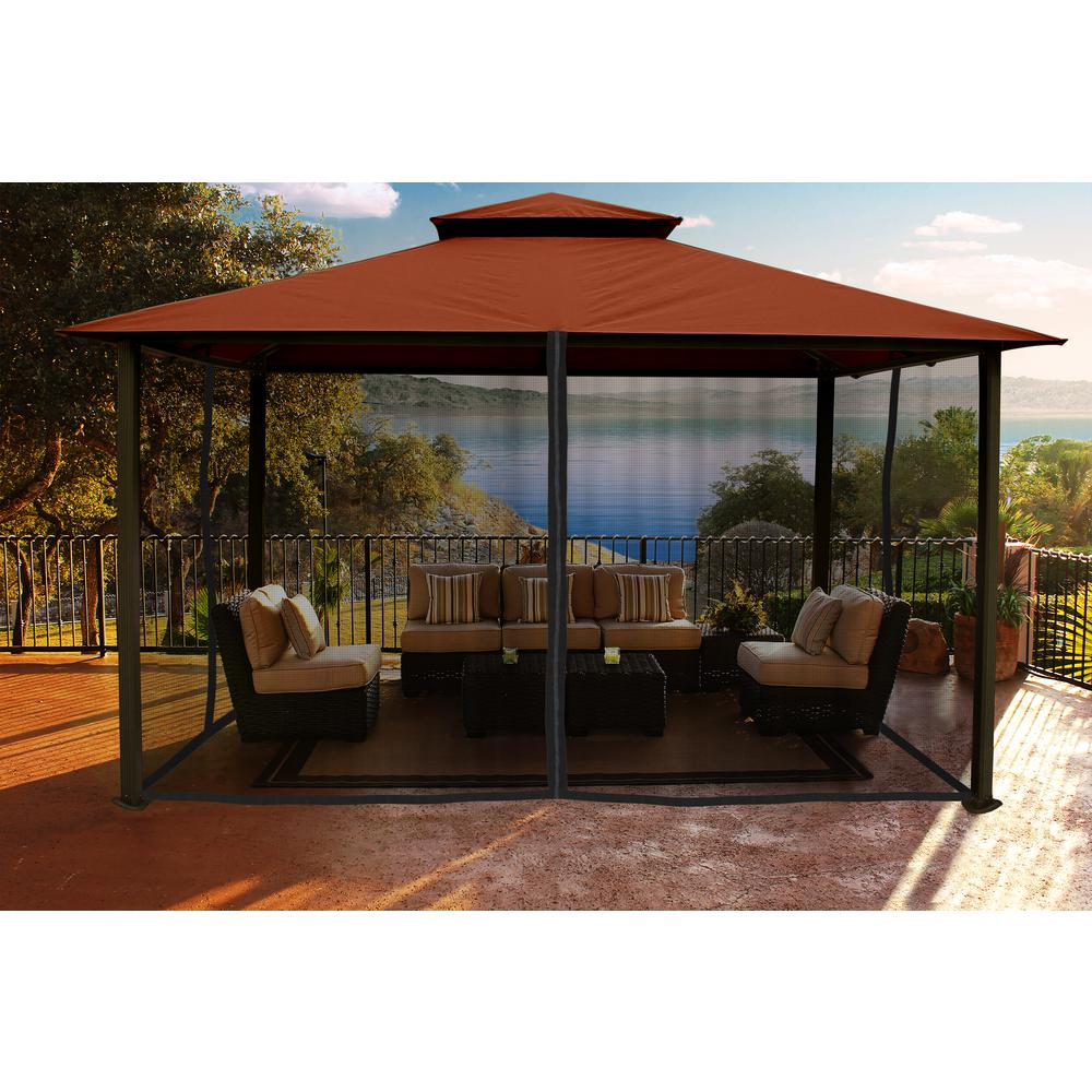 outdoor gazebo gazebo with rust top and mosquito netting UTMJNHO