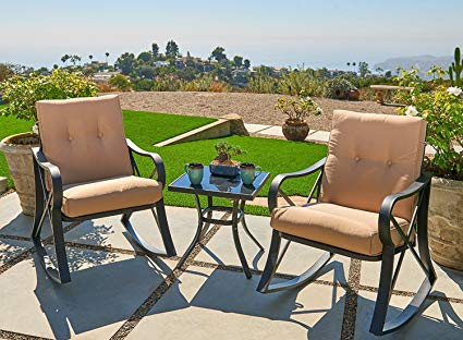 outdoor patio sets outroad 3-piece rocking metal bistro