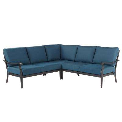 outdoor sectional sofa riley 3-piece metal outdoor sectional