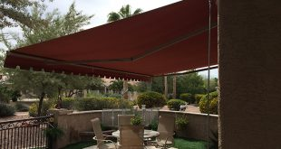 patio awnings red sunchoice awning over a medium size patio YVKBLPM