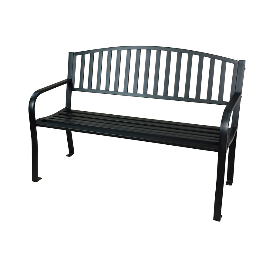patio benches garden treasures 23.63-in w x 50-in l black steel patio bench FBCONME
