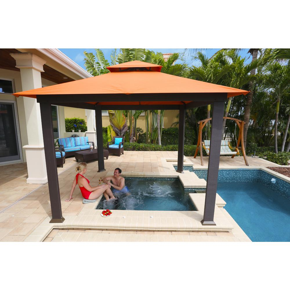 patio gazebo stc paragon-outdoor 10 ft. x 10 ft. gazebo with rust sunbrella canopy BIBPMIV