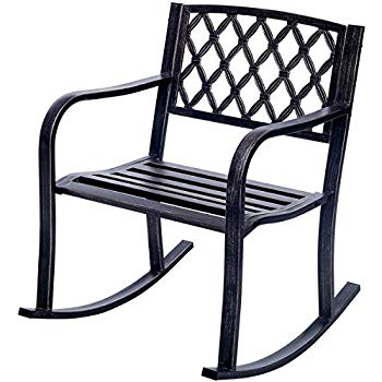 patio rocking chairs costway patio metal rocking chair outdoor porch seat backyard glider rocker KYUZEOI