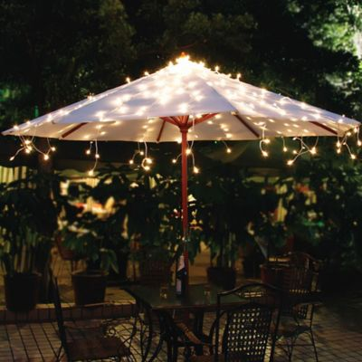 Merveilleux Patio Umbrella Lights Solar Umbrella String Lights In White ENLNOMM