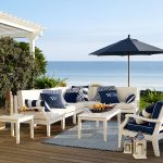 preppy navy and white patio furniture make for